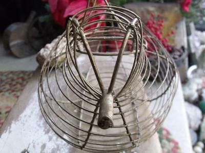 Primitive Vintage Tin Wire Chicken Shaped Egg Basket Shabby Rusty Gold