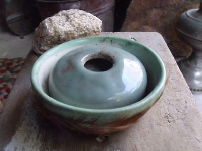 Vintage Hand Thrown Pottery Incense Burner ? Feathered Sides Signed Cindy Small