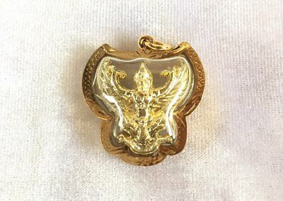 Garuda Gold Thai Amulet Pendant with cover Bird of Power Block Black Magic
