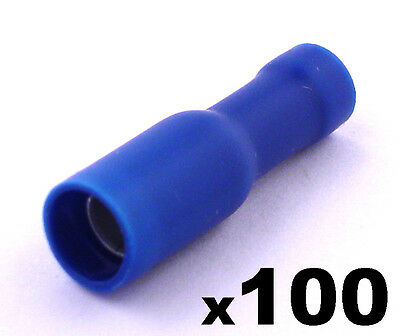 100 Blue Female Insulated Bullet Connector Terminals Crimp electrical cable wire