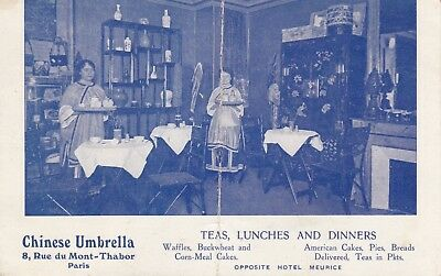 1918 WW1 Postcard - Chinese Umbrella Cafe, Paris - American Expeditionary Force