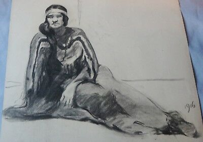 Seated Girl On Ground Charcoal Drawing 1916 By John Andrew Old And Beautiful!