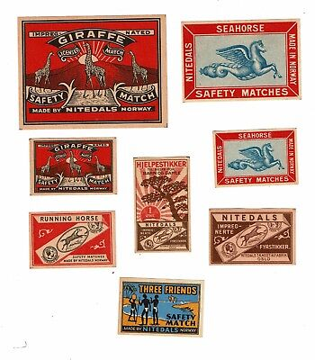 8 Old Norway Nitedals c.1900s matchbox labels depicting Seahouse, Giraffe etc.