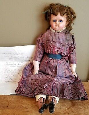 "Antique 1867 English Wax & Composition 19"" Doll Sleep Eyes Silk Dress w/Letter"