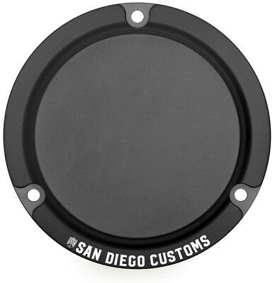 San Diego Customs 3-Hole Logo Derby Cover Black #P-DCE004BLK Harley Davidson