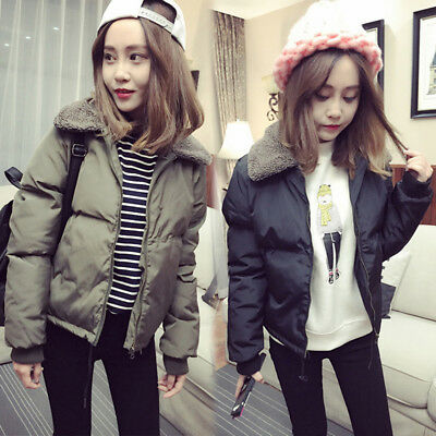 Winter Thicken Warm Cotton Coat Outerwear Solid Short Slim Padded Lady Jacket Z