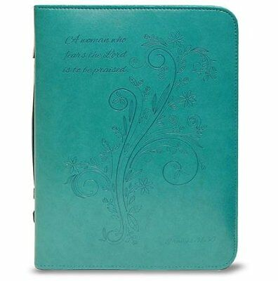 A Woman Who Fears the Lord is To Be Praised Bible Cover, Teal, X-Large
