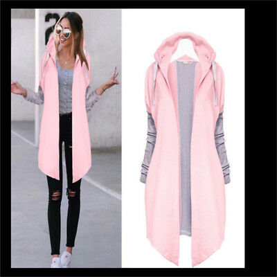 Long Cardigans Patchwork Hooded Windbreaker Women Solid Color Casual Outerwear Z