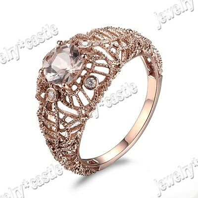 Round Cut Morganite Diamond 925 Sterling Sliver Filigree Vintage Wedding Ring