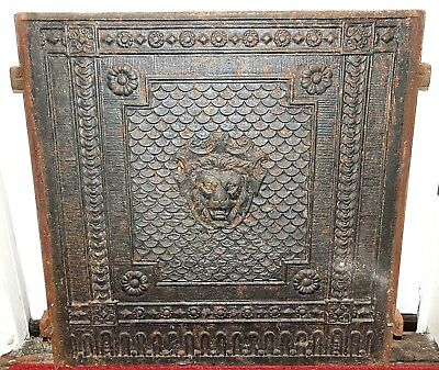 Antique 1800s Cast Iron FIREPLACE FIRE BACK Panel, Decorative with LION, 39 lbs