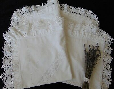 2 Antique Vintage Victorian French Chateau Romantic Frilled Large Pillowcases