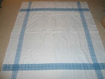 Vtg.blue And White Damask Tablecloth,60 X 67,exc.used Cond't