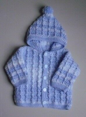 New Hand Crochet Baby Boys Blue & White Hooded Cardigan Fit 3-6 Months