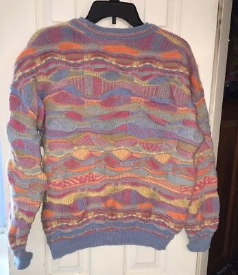 RARE VTG COOGI Style Australian Cosby HIP HOP Pastels Pink 100% WOOL SWEATER