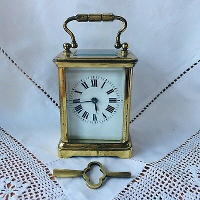 Vintage Travel Carriage Clock, French Style, Working With Key