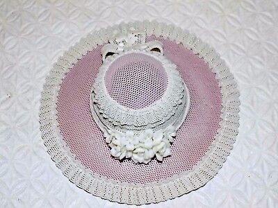 Lladro Pink Hat with White Ribbon