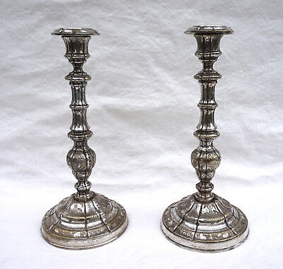 Rare French Silverplate Engraved Bronze Pair Candlesticks Louis XIV Early 18th C