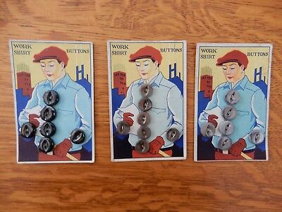 3 Vintage Industrial Machine Age Men's Work Shirt Buttons On Cards