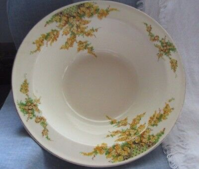 Vintage Edwin M. Knowles China Flat Rim Large Serving Bowl Yellow Flowers
