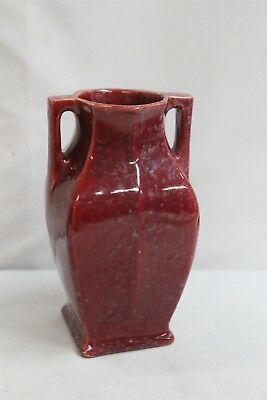 Arts Crafts 2 Buttress Handled Speckled Red Oxblood Canadian Art Pottery Vase