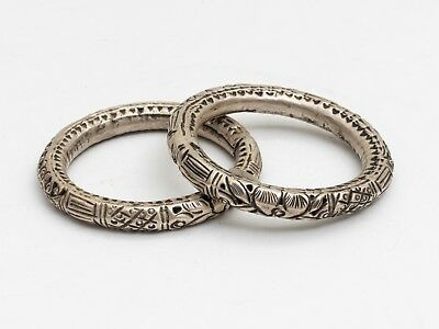 Pair Of Chinese Antique/Vintage Silver Bracelets