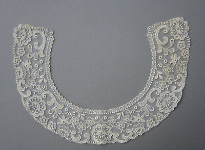 """Antique Ivory Lace Collar ~ Embroidered Netting ~ Floral ~ 2 5/8"""" width"""
