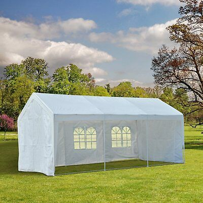 10' x 20' Gazebo Party Tent Patio Canopy Shelter w/ Removable Sidewalls White
