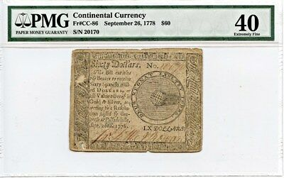 FR. CC86 Sept 26, 1778 $60 Continental Currency PMG Choice Net XF40 (Intrl Dmg)