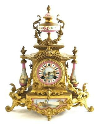 Stunning 1880s Gilt French Striking Mantle Clock With Pink Sevres Porcelain