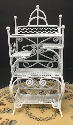 Vintage Dollhouse Miniature White Metal Wicker Flower Display Cart Furniture