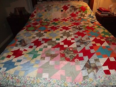 """Vintage Hand Stitched Quilt Top 72"""" x 80"""" Colorful"""