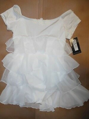 NWT Bloch CL8072 CapSleeve Ballet Dress White Ruffled floral Bodice Girls Large