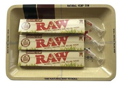 Raw Rolling Papers Organic King Size 7x5 Rolling Tray 3 Reusable Glass Tips 420