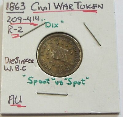1863 Civil War Token Shoot Him On The Spot High Grade Union Flag