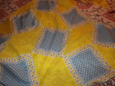 Vintage Handmade Partial Quilt Top with Extra Squares Blue and Yellow