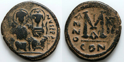 Byzantine coin AE Follis 31mm-JUSTIN II 565-578-A- AD Constantinople-Year 12
