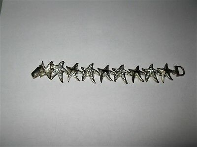 Stunning Vintage? STARFISH BLING 7 Inch Bracelet Must See!! Color Silver CHARM