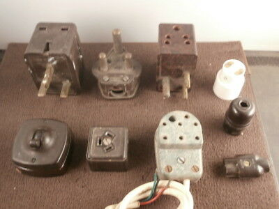 9 Vintage Electrical Plugs Switches Adapters, Connectors BAKELITE Ceramic, MK