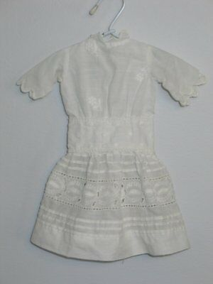 Antique Victorian Edwardian Drop Waist Doll Dress~Embroidered Lace French German