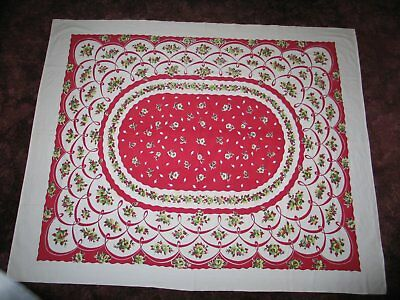 Delightful Vintage Tablecloth Colorful Red White Flowers Retro 1940s 1950s