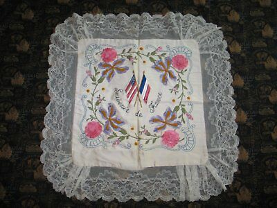 Pillow Sham-French American Flags-WW1-Antique Vintage French boudoir-Lace