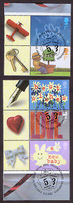 GB 2002 Occasions 1st class Smilers stamps x 5 used First Day of Issue cancel