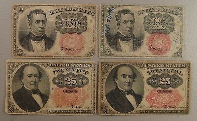 Lot of (4) United States 10¢ and 25¢ Fractional Currency Notes