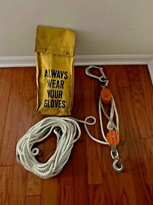 Vintage B & L Block Co. No.2 Lineman's Block & Tackle with bag Made In USA