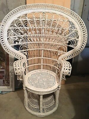 Vintage Peacock Chair Wicker High Fan Back Victorian Shabby Chic