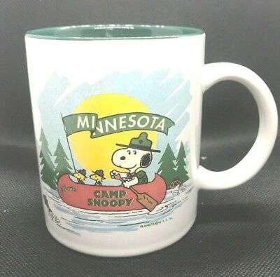 Vintage SNOOPY Mug Mall of America MINNESOTA Knotts CAMP Snoopy cup Green inside