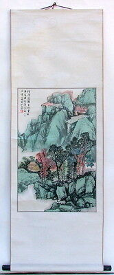 CHINESE HANGING SCROLL INK & COLOR MOUNTAIN VILLAGE LANDSCAPE PAINTING w POETRY