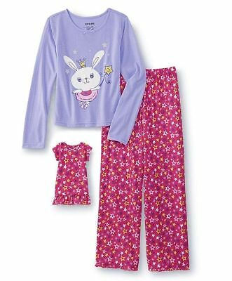Girls Size 10/12 L Matching American Doll Pajamas Nightgown Fairy Easter Bunny