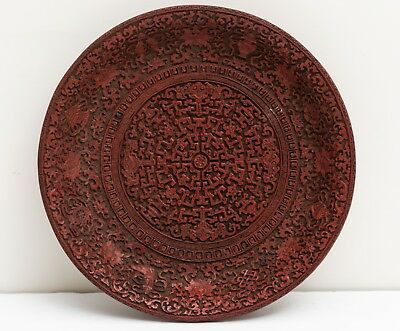 Chinese Antique/Vintage Cinnabar Lacquer Dish