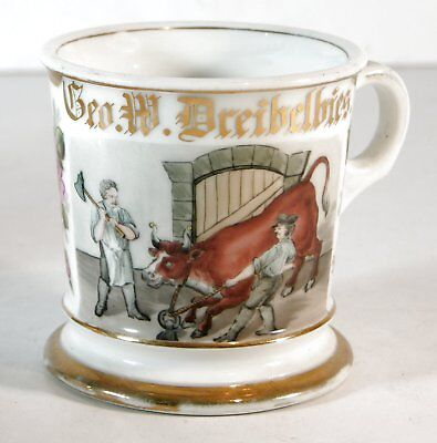 1910s HAND PAINTED SLAUGHTER HOUSE / SLAUGHTERMAN OCCUPATIONAL SHAVING MUG
